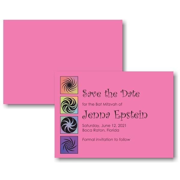 Twirls and Swirls Pink and Black Save the Date Card
