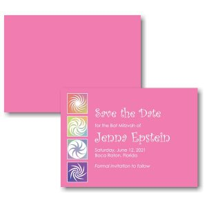 Twirls and Swirls Pink/White Save the Date Card Sample