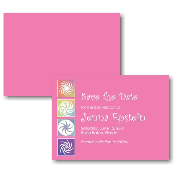 Twirls and Swirls Pink/White Save the Date Card