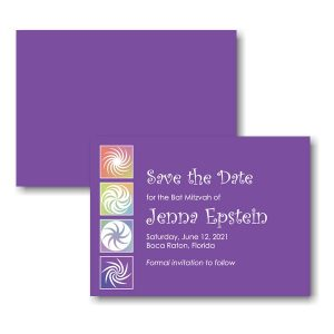 Twirls and Swirls Purple/White Save the Date Card Sample