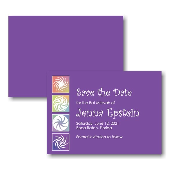Twirls and Swirls Purple White Save the Date Card