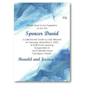 Blue Watercolor Bar Mitzvah Invitation
