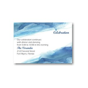 Blue Watercolor Reception Card