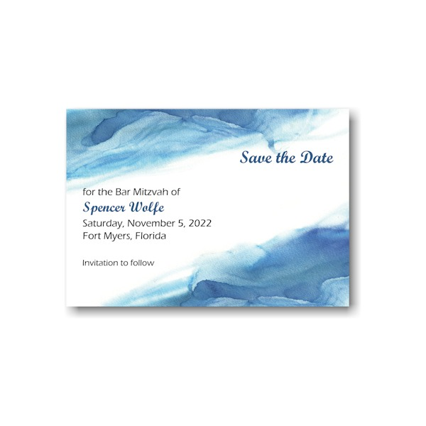 Blue Watercolor Save the Date Card Sample