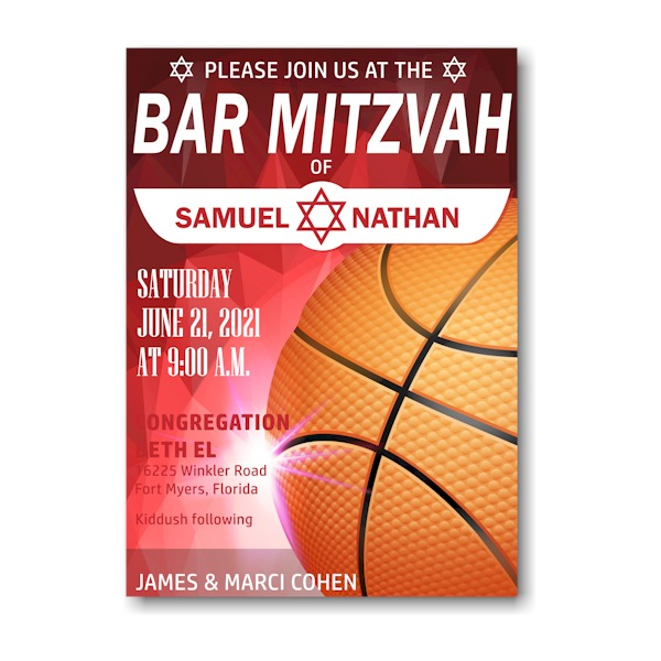 Hoop it Up Bar Mitzvah Invitation