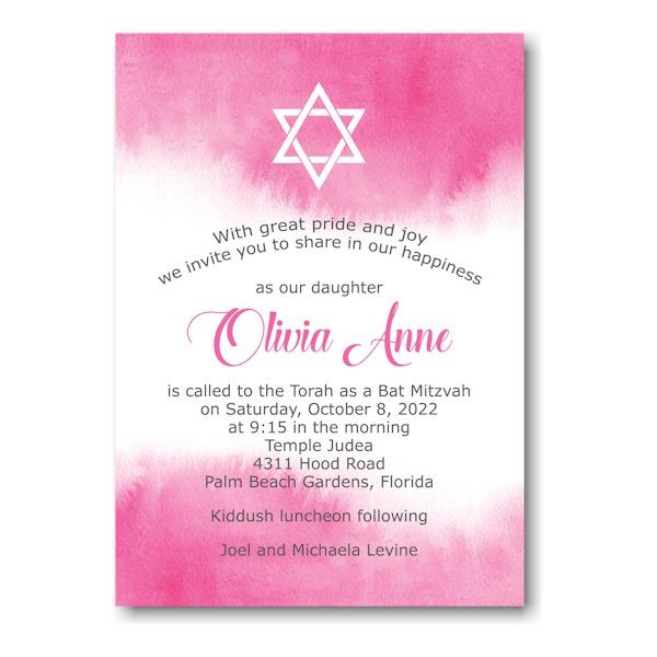 Pink Watercolor Bat Mitzvah Invitation Sample