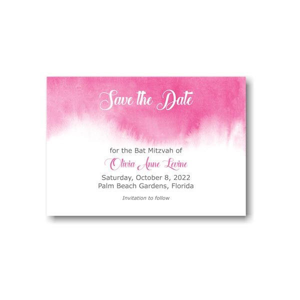 Pink Watercolor Save the Date Card