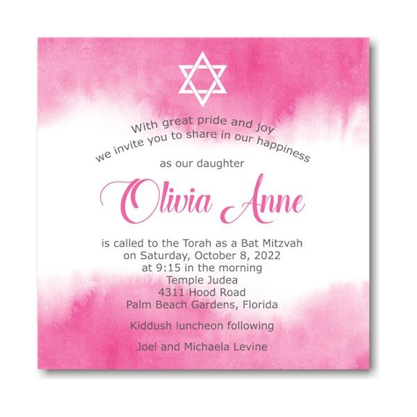 Pink Watercolor Square Bat Mitzvah Invitation Sample