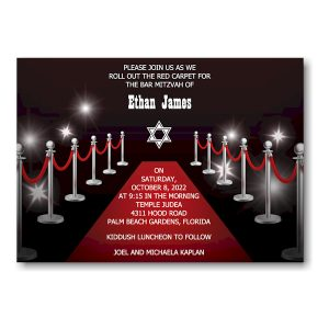Red Carpet Bar Mitzvah Invitation