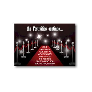 Red Carpet Bar Mitzvah Reception Card