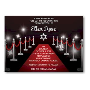 Red Carpet Bat Mitzvah Invitation Sample