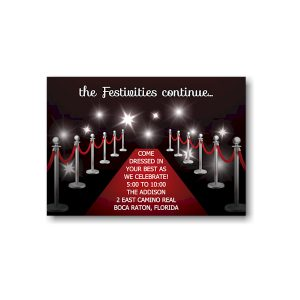 Red Carpet Bat Mitzvah Reception Card