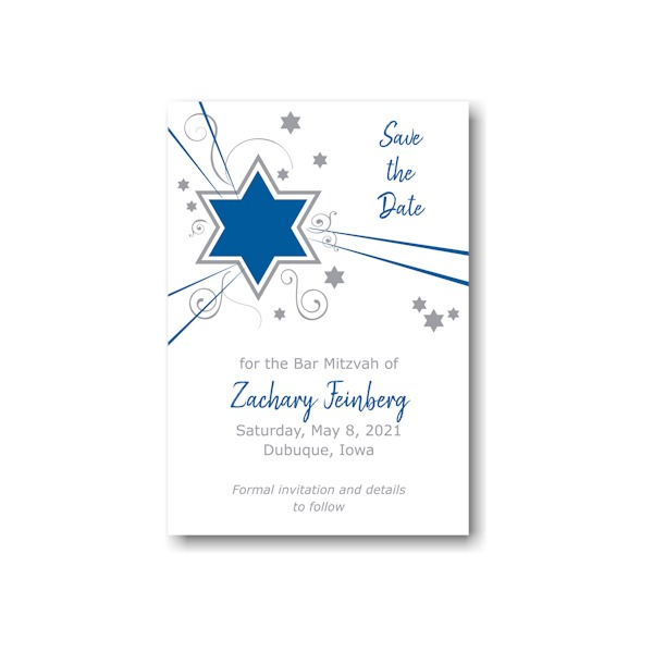 Shooting Star in Blue Save the Date Card Sample
