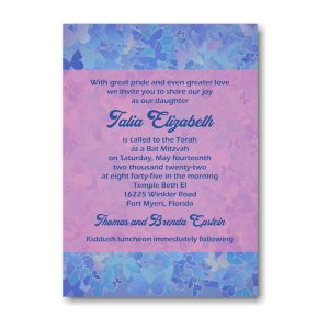 Talia Elizabeth Bat Mitzvah Invitation Sample
