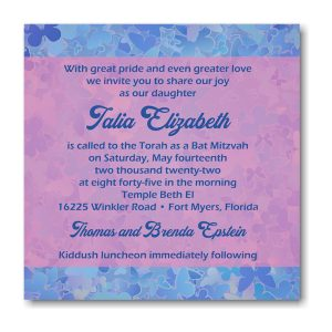 Talia Elizabeth Square Bat Mitzvah Invitation Sample