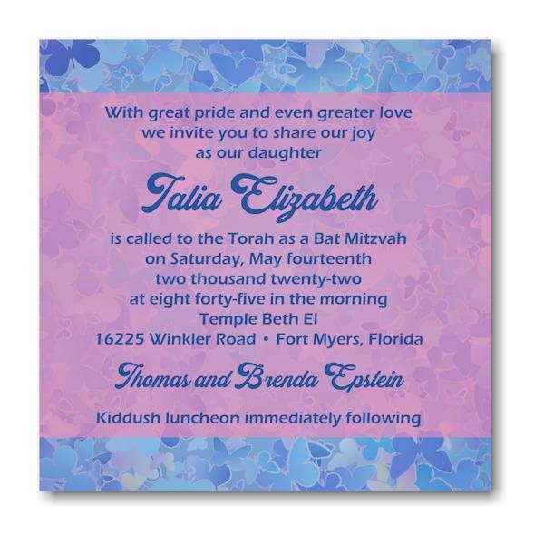 Talia Elizabeth Square Bat Mitzvah Invitation