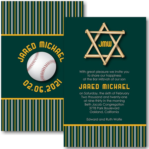 All Star OAK Baseball Bar Mitzvah Invitation Sample