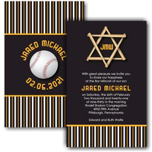 All Star PIT Baseball Bar Mitzvah Invitation
