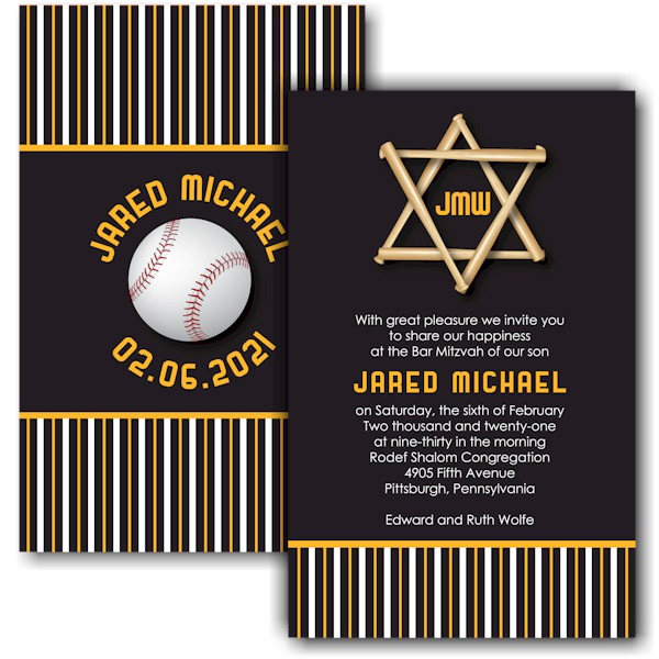All Star PIT Baseball Bar Mitzvah Invitation Sample