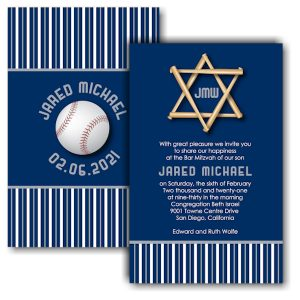 All Star SD Baseball Bar Mitzvah Invitation