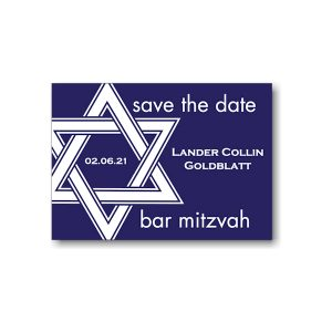 Star of David in Navy Save the Date Card