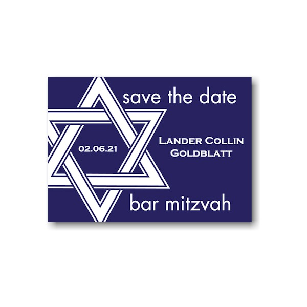Star of David in Navy Save the Date Card Sample