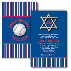All Star TOR Baseball Bar Mitzvah Invitation