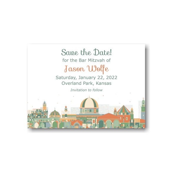Joyful Jerusalem Save the Date Card Sample