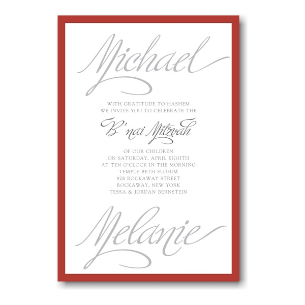 Sheer Sophistication Bnai Mitzvah Invitation