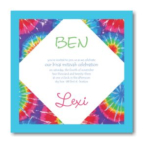 Trendy Tie Dye B'nai Mitzvah Invitation Icon
