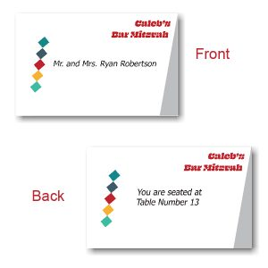Color Blocks Bar Mitzvah Place Cards
