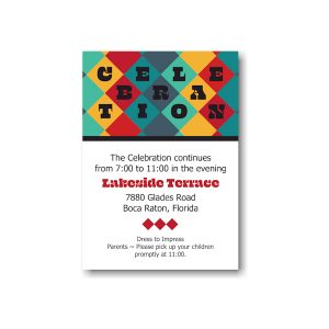 Color Blocks Bar Mitzvah Reception Card