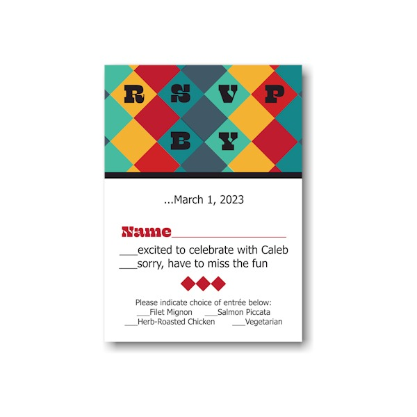 Color Blocks Bar Mitzvah Response Card