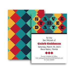Color Blocks Save the Date Card Sample
