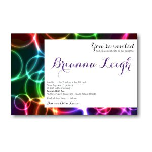 Neon Bubbles Bat Mitzvah Invitation Icon