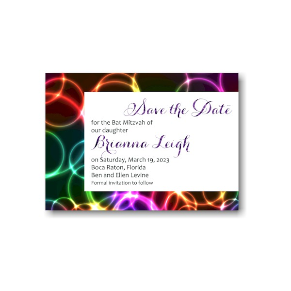 Neon Bubbles Save the Date Card Sample