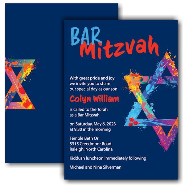 Graffiti Splash Blue Bar Mitzvah Invitation
