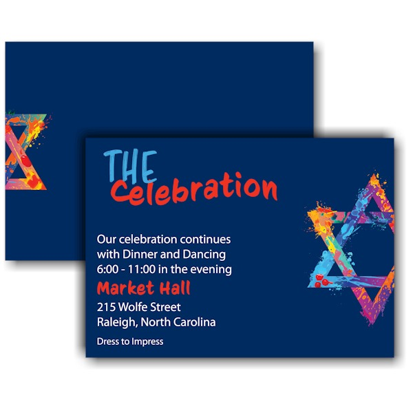 Graffiti Splash Blue Reception Card