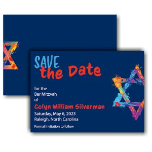 Graffiti Splash Blue Save the Date Card
