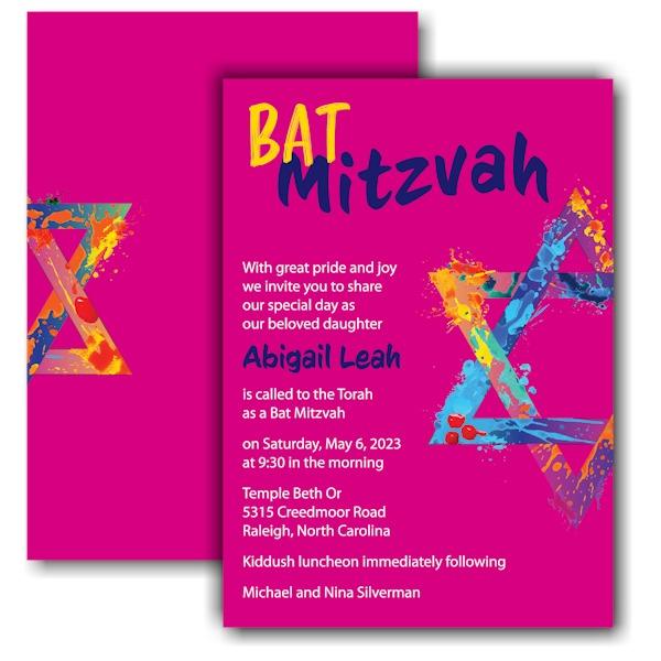 Graffiti Splash Pink Bat Mitzvah Invitation