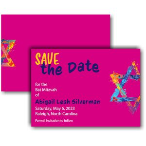 Graffiti Splash in Pink Save the Date Card Icon