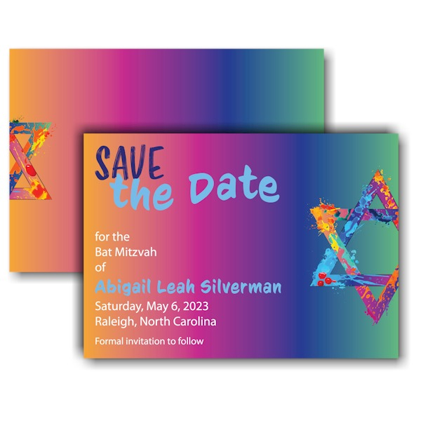 Graffiti Splash Rainbow Save Date Card