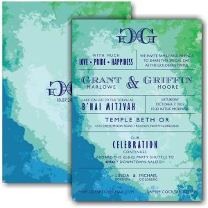 Modern Watercolor Bnai Mitzvah Invitation