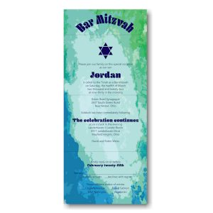 Modern Watercolor Seal and Send Bar Mitzvah Invitation