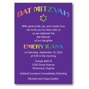 Rainbow Style Bat Mitzvah Invitation Icon