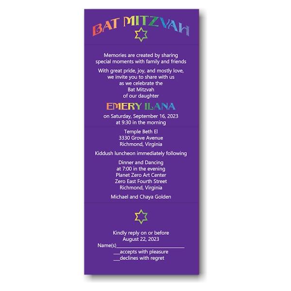 Rainbow Style Seal Send Bat Mitzvah Invitation
