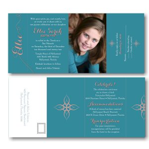 Joyous All in One Photo Bat Mitzvah Invitation