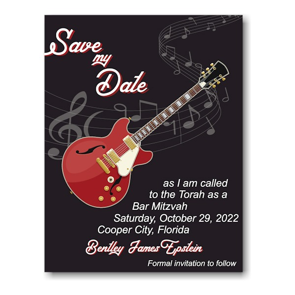 Red Guitar Save My Date Magnet