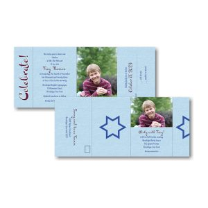 Simcha All in One Photo Bar Mitzvah Invitation Both Sides