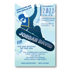 Snowboarding Bar Mitzvah Invitation Icon